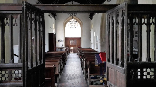 Through the chancel screen in All Saints, Somerford Keynes