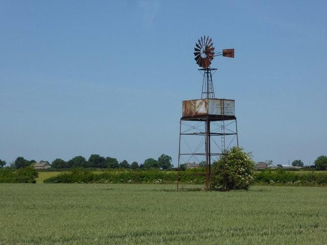 Wind pump in a wheat field