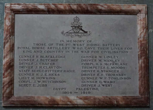 War Memorial, Holy Trinity Church, Wentworth
