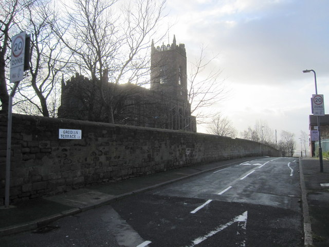 A silhouette of St George's Church, Everton