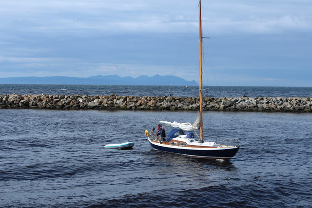 Yacht Entering Harbour at Girvan