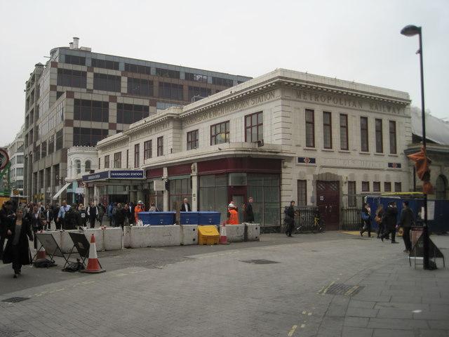 Farringdon railway and Underground station, London
