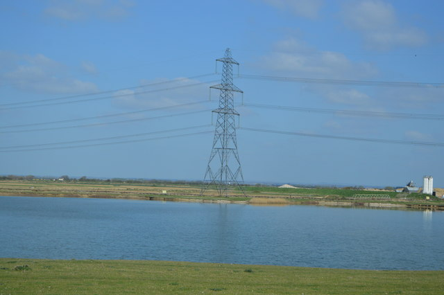 Pylon by gravel pit