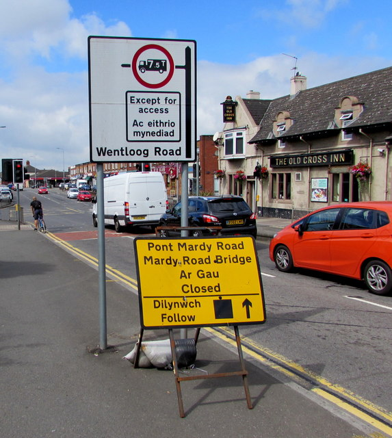 Newport Road direction signs, Rumney, Cardiff