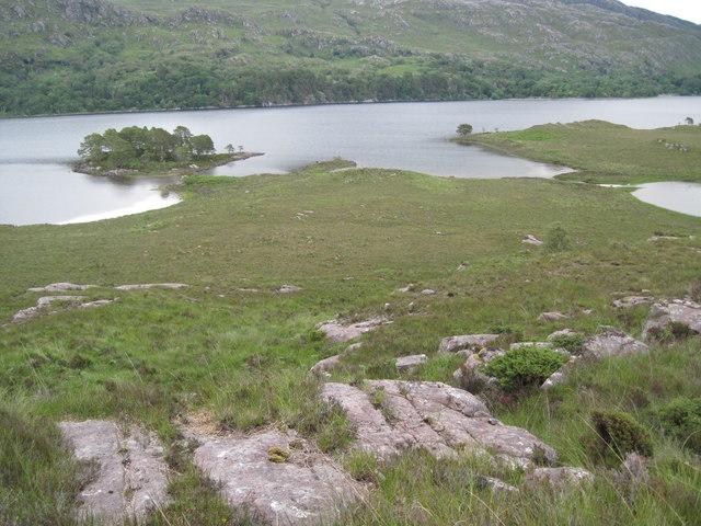 Eilean a' Chlamhain and Eilean Mhic an Fhùlaraich from Creag Ghiuthais