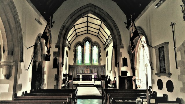Nave and chancel in All Saints, Kemble