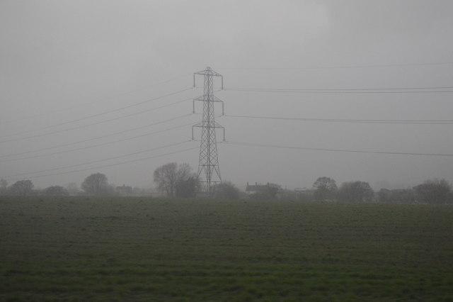 Pylon during heavy rain