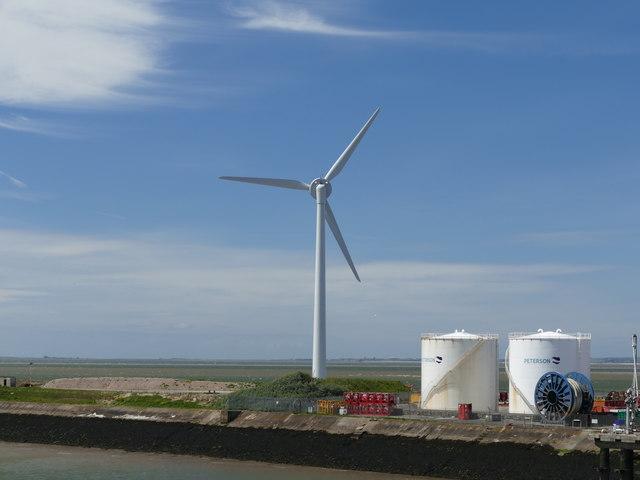 Wind turbine in Heysham Harbour