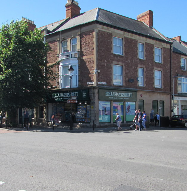 Holland & Barrett shop on a town centre corner, Minehead