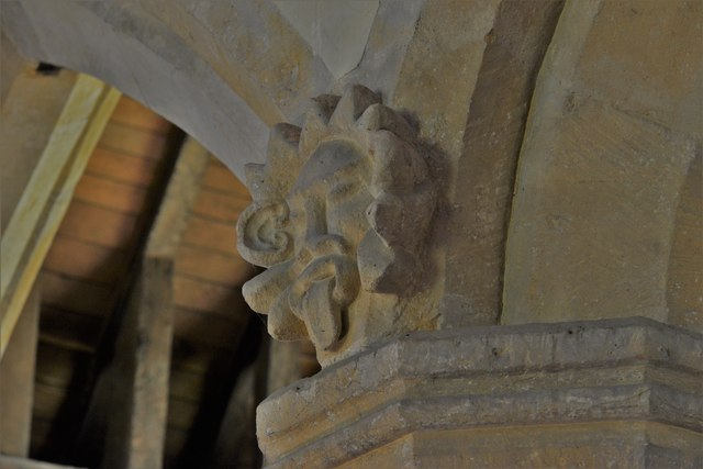 Stanton, St. Michael's Church: Odd carving in the nave 1