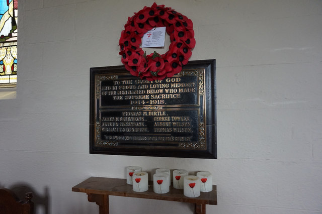War Memorial Plaque, St Peter's Church, Stainforth