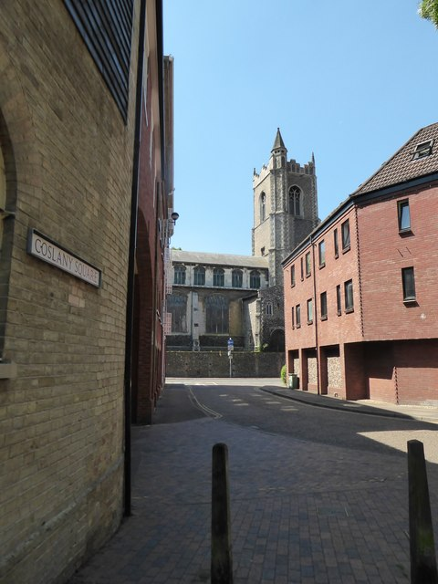 Looking from Coslany Square towards St Lawrence's
