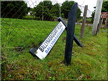 H5956 : Damaged road sign, Ballynasaggart by Kenneth  Allen