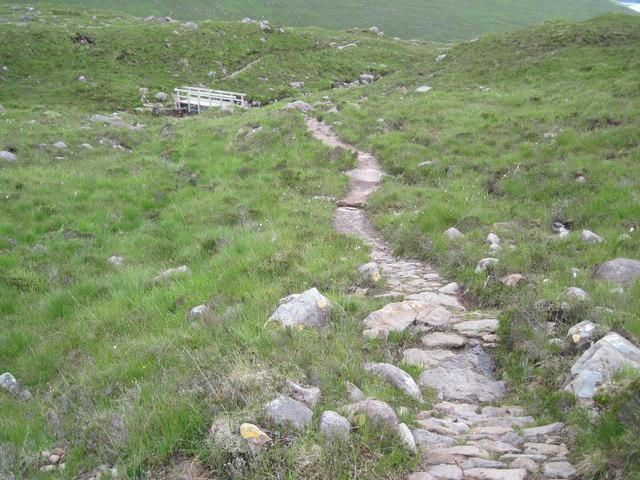 Path and bridge over Allt a' Bhealaich