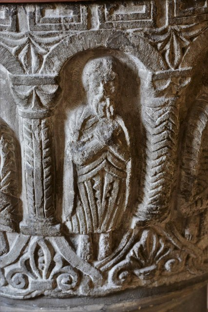 Rendcomb, St. Peter's Church: c12th Norman font, depicting eleven disciples with the tools of their trades 7