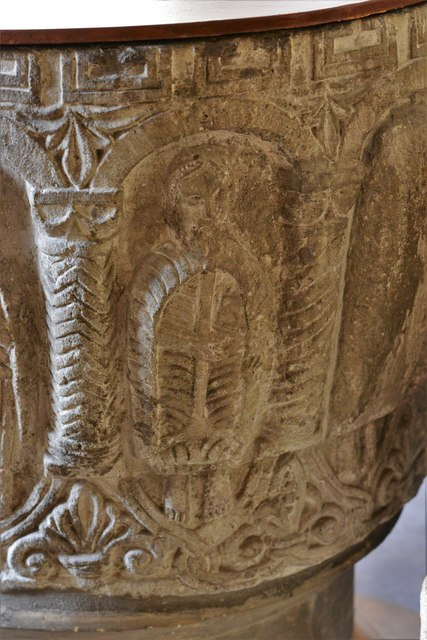 Rendcomb, St. Peter's Church: c12th Norman font, depicting eleven disciples with the tools of their trades 8