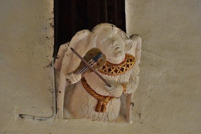 Rendcomb, St. Peter's Church: Medieval stone angel corbel 4