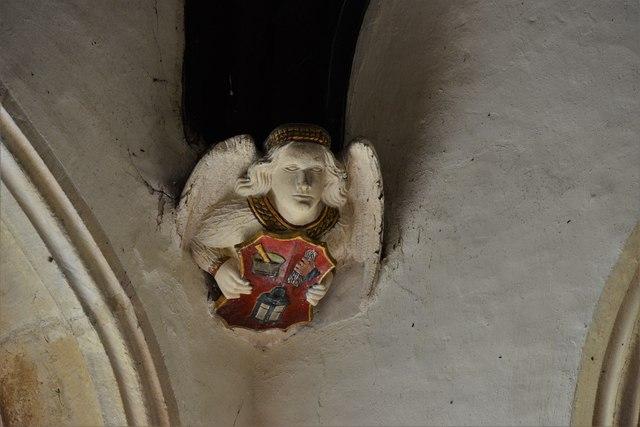Rendcomb, St. Peter's Church: Medieval stone angel corbel 5
