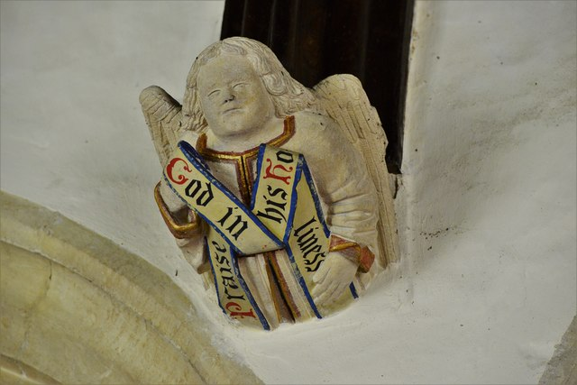 Rendcomb, St. Peter's Church: Medieval stone angel corbel 7