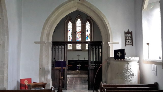 Chancel arch, screen and pulpit in All Saints, Somerford Keynes