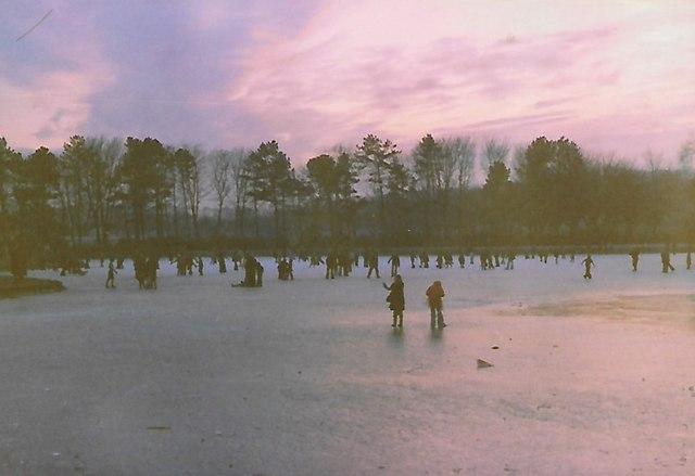 A frozen boating lake. Beveridge Park, Kirkcaldy