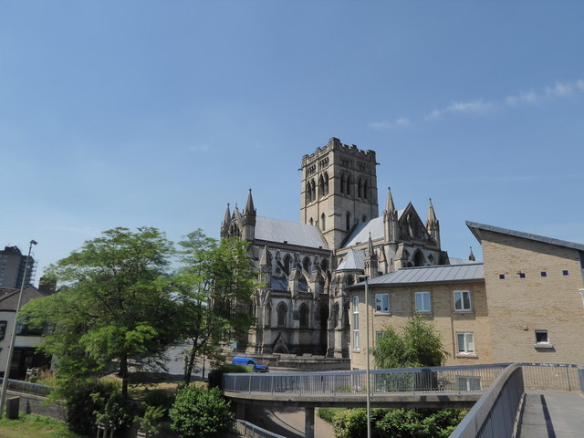 Norwich RC Cathedral seen from the footbridge over Grapes Hill
