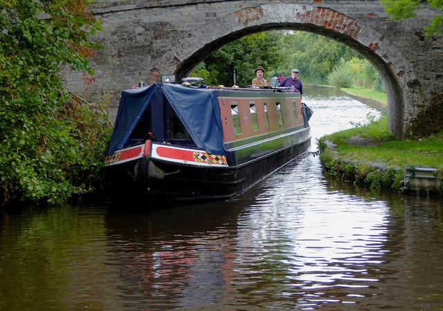 Narrowboat under Brooms Bridge near Hindford, Shropshire