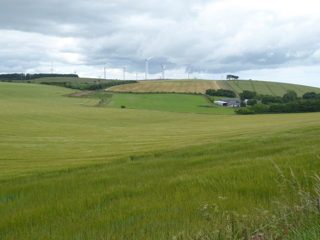 A view from the B9120 of wind turbines