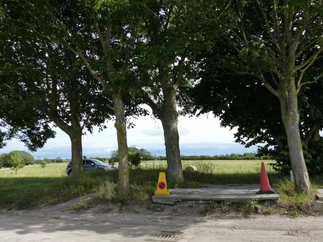 Traffic cones resting in the shade in a layby next to the A38