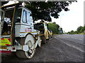 ST6164 : Road works vehicles at a bus stop on the A37, looking north by Rob Purvis