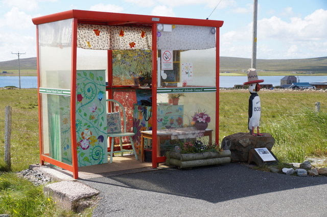 Bobby's Bus Shelter and an Unstfest Puffin, Baltasound