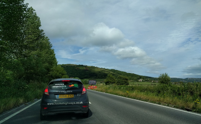 Traffic queue for road works on the A38
