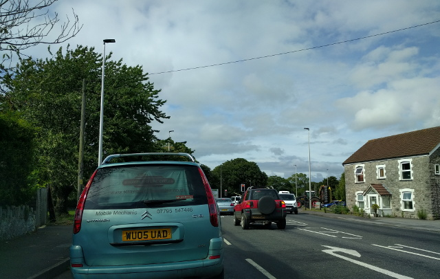 Traffic on the A38 at Churchill