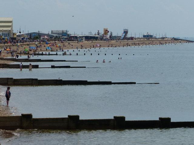 Groynes on the beach at Hunstanton