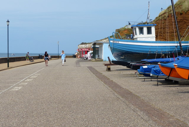 Boats on the promenade at Hunstanton