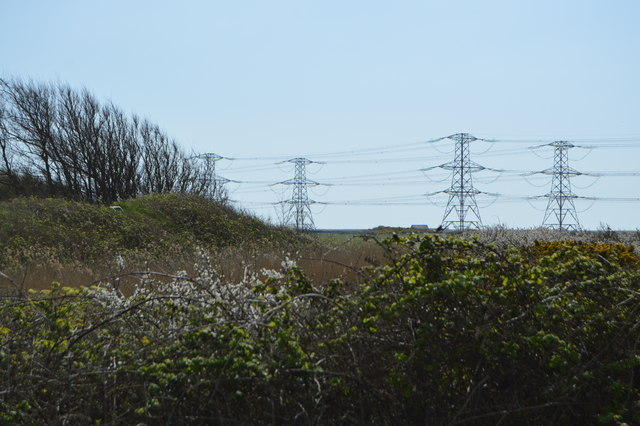 A line of pylons