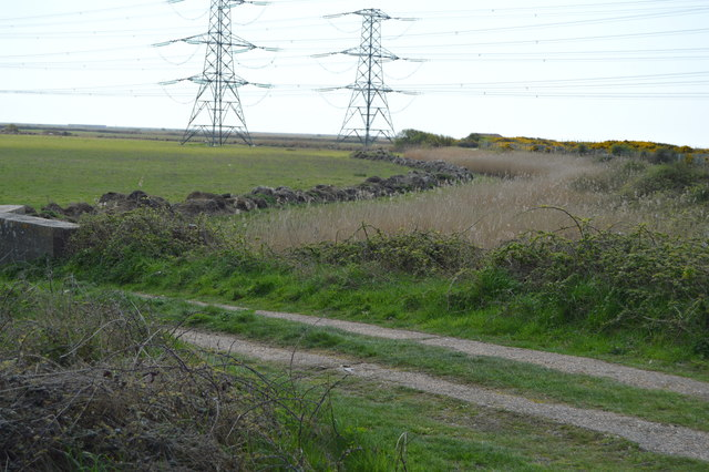 Farmland, track and pylons