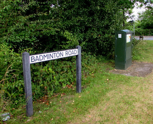 Badminton Road name sign and telecoms cabinet, Yate