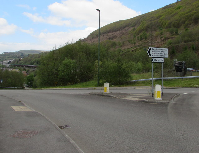 Direction signs at the southern approach to Cwm