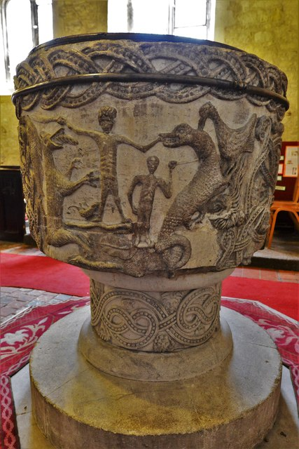 Stone, St. John the Baptist Church: The magnificent Norman font 6
