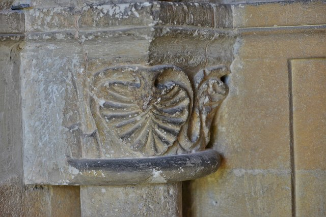 Stone, St. John the Baptist Church: South doorway capital 1