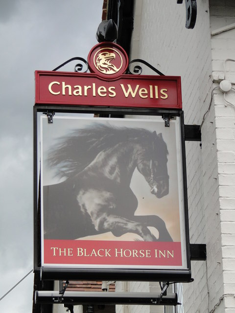 The sign of The Black Horse Inn at Swaffham Bulbeck