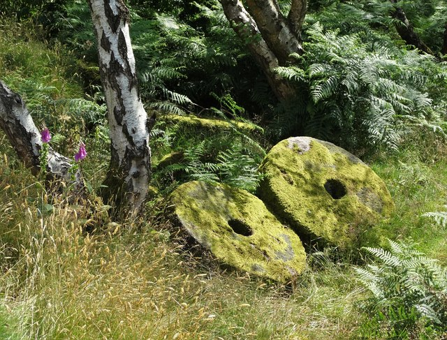 Abandoned millstones by the track to Bole Hill Quarry
