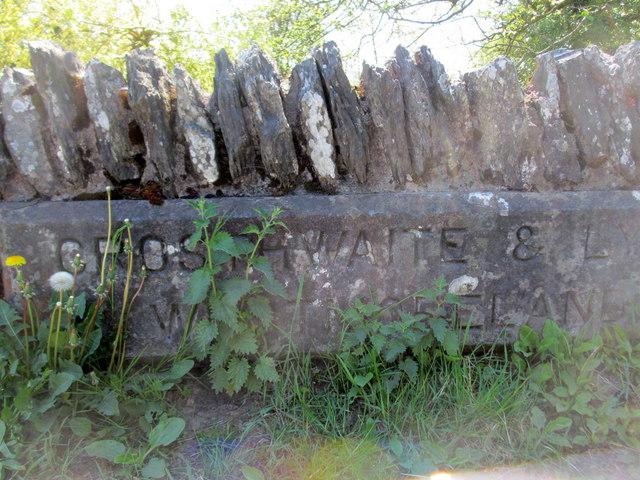 Crosthwaite & Lyth boundary stone on Bowland Bridge