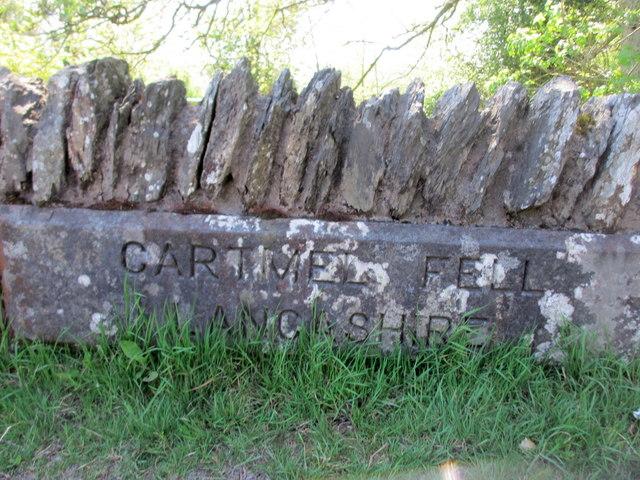 Cartmel Fell boundary stone on Bowland Bridge