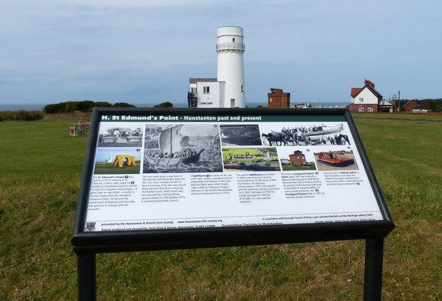 Information board at St Edmund's Point, Hunstanton