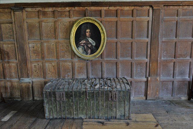 Chastleton House: The Long Gallery, one of two c.1500 leather bound, iron strapped chests