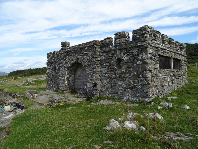 Disused building Barlocco beach Knockbrex Dumfries and Galloway