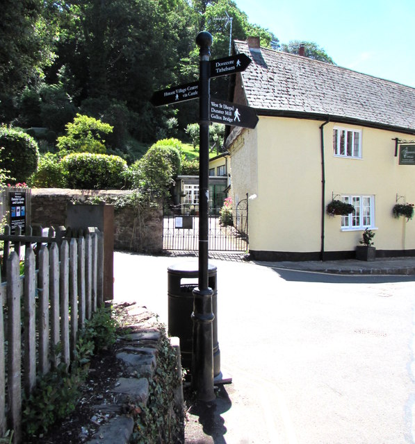 Black signpost in Dunster