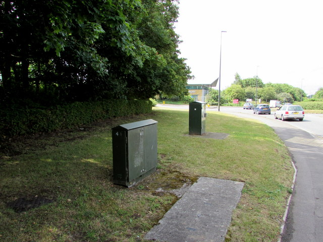 Telecoms cabinets alongside Badminton Road, Yate
